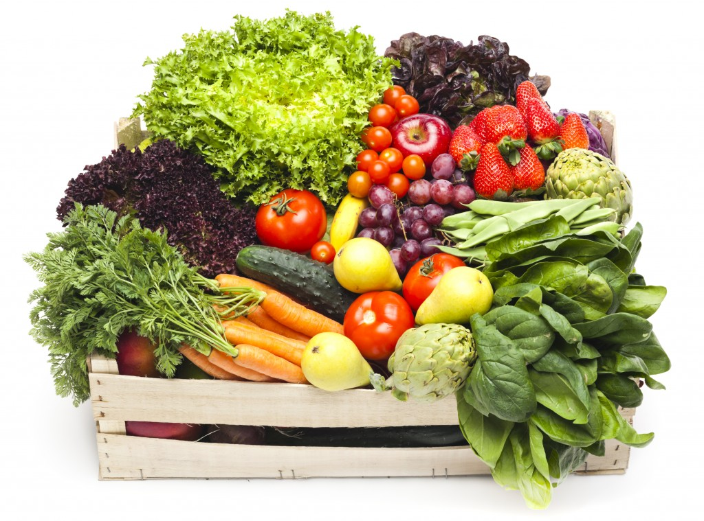 Assortment of fruits and vegetables inside box